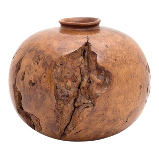 Melvin Lindquist Turned Wild Cherry Burl Wood Vase, Usa, 1973 For Sale