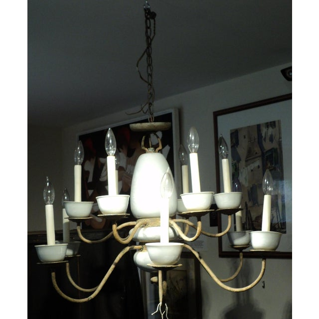 Antique Metal & Ceramic Chandelier - Image 9 of 11