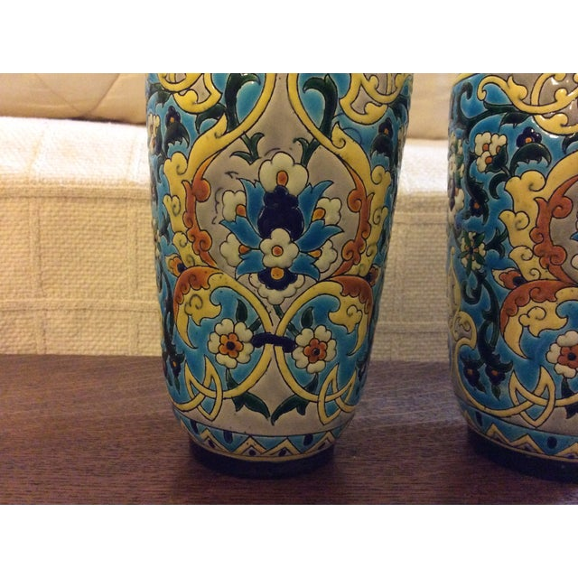 19th Century French Enameled Longwy Vases - a Pair For Sale In Greenville, SC - Image 6 of 12