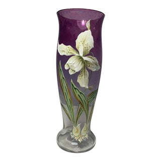 Vintage Amethyst Flashed Glass Vase With Hand Painted White Enamel Daffodil Flower For Sale