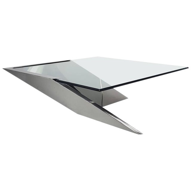 Brueton J. Wade Beam Cantilevered Stainless Steel Coffee Table For Sale