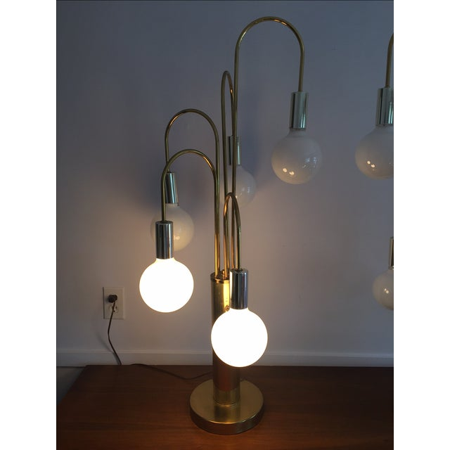 Mid-Century Brass Waterfall Table Lamps - A Pair For Sale In Boston - Image 6 of 11