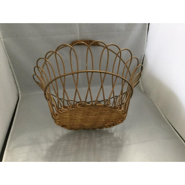 Gold Vintage Metal Basket With Bamboo Bottom For Sale - Image 4 of 8