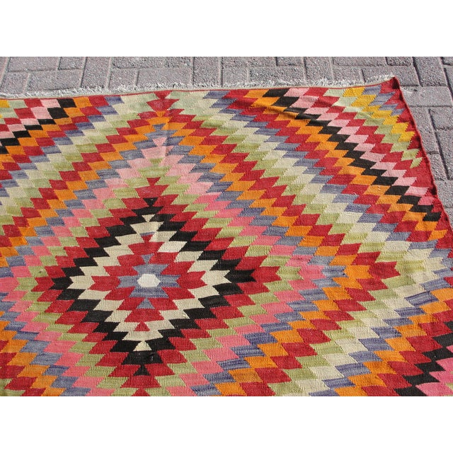 Vintage Turkish Kilim Rug - 5′5″ × 8′7″ For Sale - Image 5 of 11