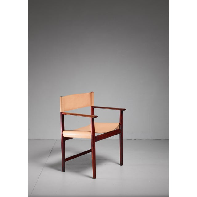 Mid-Century Modern Kurt Østervig Rosewood and Leather Armchair for Sibast, Denmark, 1960s For Sale - Image 3 of 5