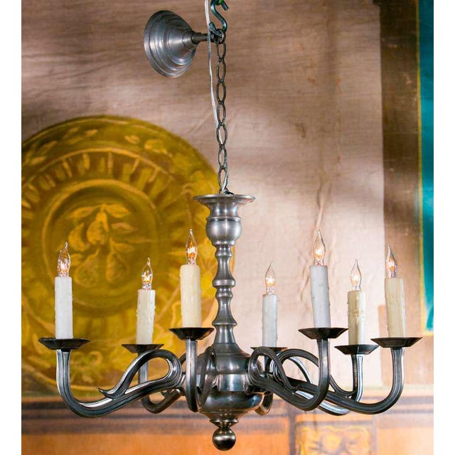 Superior art nouveau style french pewter chandelier with eight arms art nouveau style french pewter chandelier with eight arms circa 1940 image 4 aloadofball Image collections