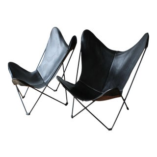 Rare Hardoy Leather Butterfly Chairs