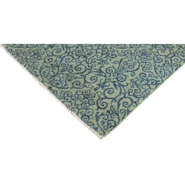 Abstract Kafkaz Peshawar Cyrena Lt. Green/Blue Wool Rug - 4' X 6' For Sale - Image 3 of 8