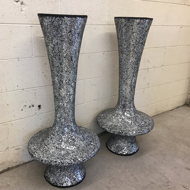Monumental Mirrored Tile Mosaic Urns - A Pair For Sale - Image 4 of 8