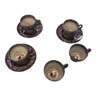 18th Century Wedgewood Asian Cup and Saucer Set - 9 Piece Set For Sale