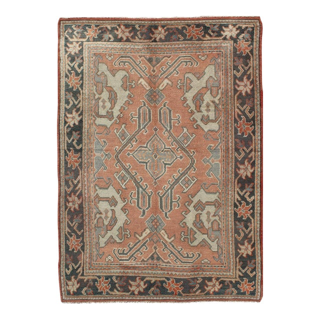 Keivan Woven Arts, F-0912, Early 20th Century Antique Turkish Oushak Rug - 5′3″ × 7′10″ For Sale