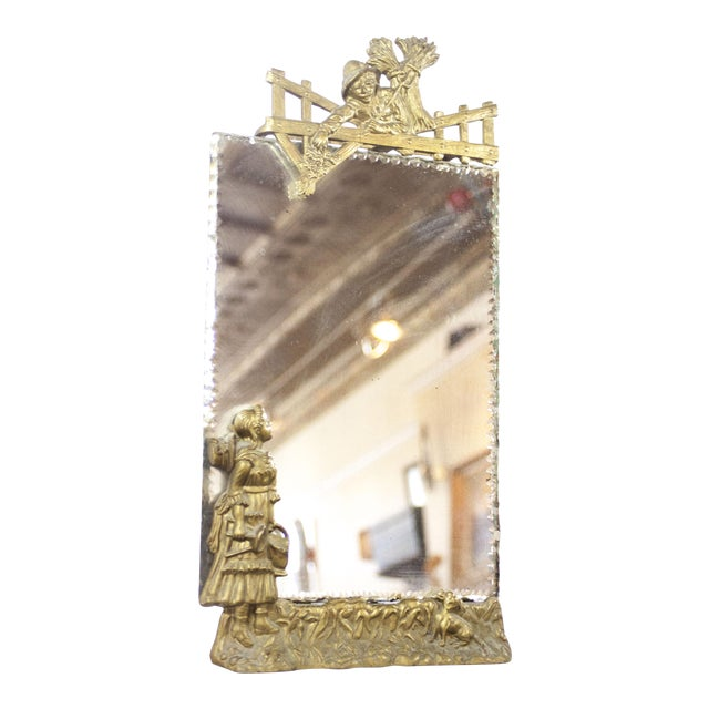 Antique Art Nouveau 19th Century Gold Gilt Scalloped Mirror For Sale