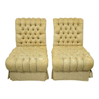 Pair Dorothy Draper Style French Hollywood Regency Rolled Back Slipper Chairs- A Pair For Sale