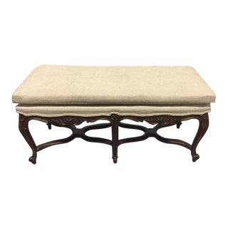 Louis XV Style Six-Leg Walnut Tufted Bench For Sale