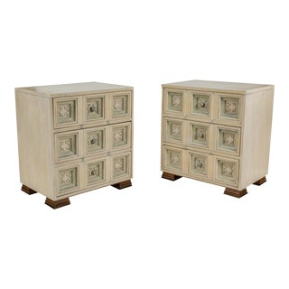 Pair of Painted Hollywood Regency Style Chests For Sale