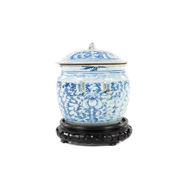 Chinese 19th C. Blue & White Porcelain Ginger Jar With Stand For Sale - Image 4 of 9