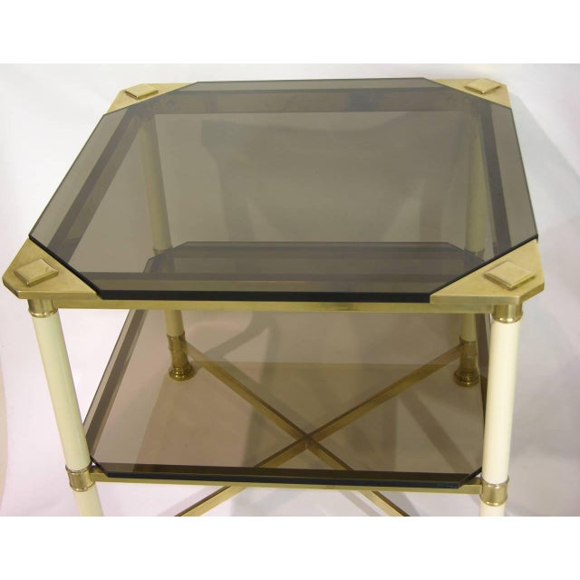 Hollywood Regency Vivai Del Sud 1970s Smoked Glass and Ivory Brass Side Tables - a Pair For Sale - Image 3 of 11