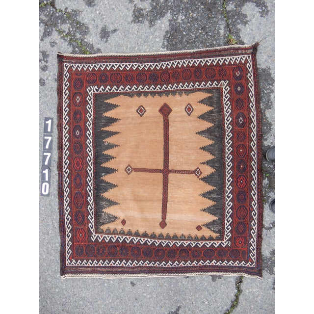 This item is exclusive to DECASO. This classic camel ground 'soffreh,' or presentation cloth, is the work of Baluch...