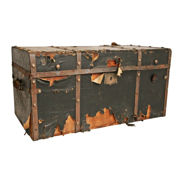Vintage Industrial Black Steamer Trunk - Image 1 of 11