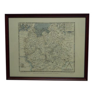 """Saxton's Map of Oxfordshire - Buckinghamshire and Berkshire - 1574"" Wood Framed Map For Sale"