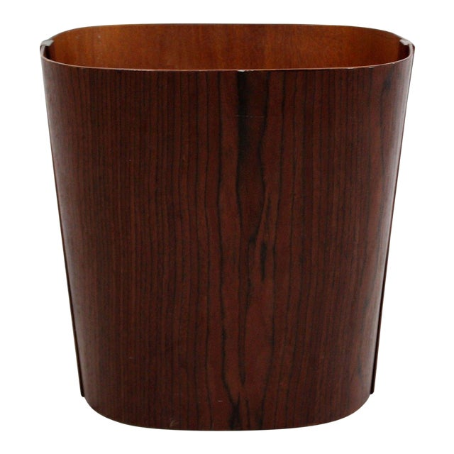 Mid Century Modern Small Wooden Wastebasket Trash Can Mobler Denmark 1960s For Sale