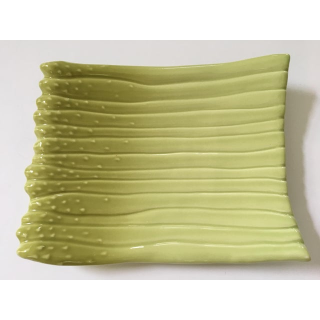 Large - Apple Green Ceramic Hand Painted Asparagus Platter For Sale - Image 9 of 9
