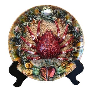 Early 20th Century Antique Majolica Spider Crab Plate For Sale