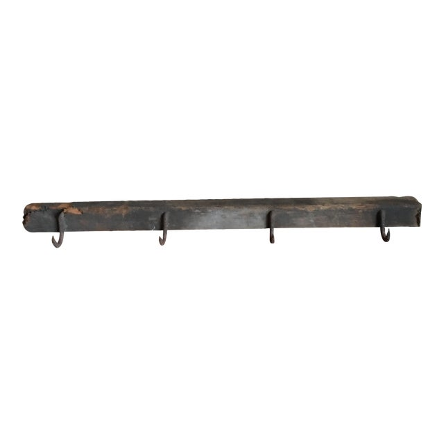 Industrial Wooden Beam & Iron Hooks - Image 2 of 8