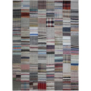 Hand Knotted Patchwork Rug- 8′ × 9′10″ For Sale