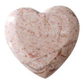 Vintage Pink Marble Heart Paperweight Mid Century Figurine