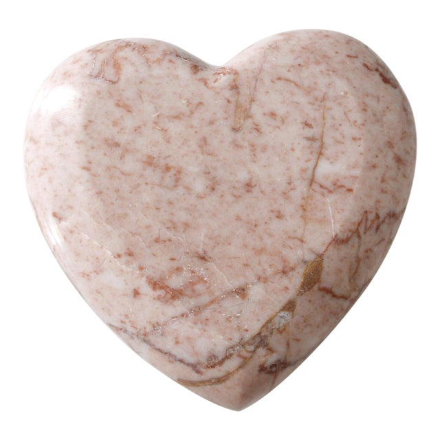 Vintage Pink Marble Heart Paperweight Mid Century Figurine For Sale