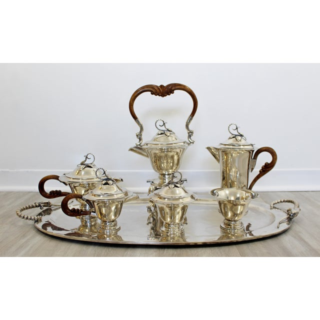Mid Century Modernist Sterling Silver Tea Coffee Set Mexico Jensen Style - Set of 7 For Sale - Image 10 of 10