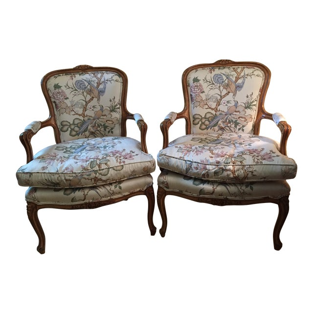 1980s Vintage Louis XV Style Chairs- A Pair For Sale