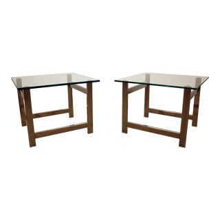 Mid-Century Danish Modern Milo Baughman Chrome Flat Bar & Glass End Tables - a Pair