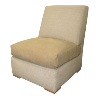 Kreiss Collection Raffia & Ultrasuede Slipper Lounge Chair For Sale