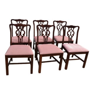 Vintage American of Martinsville Mahogany Chippendale Style Dining Chairs For Sale