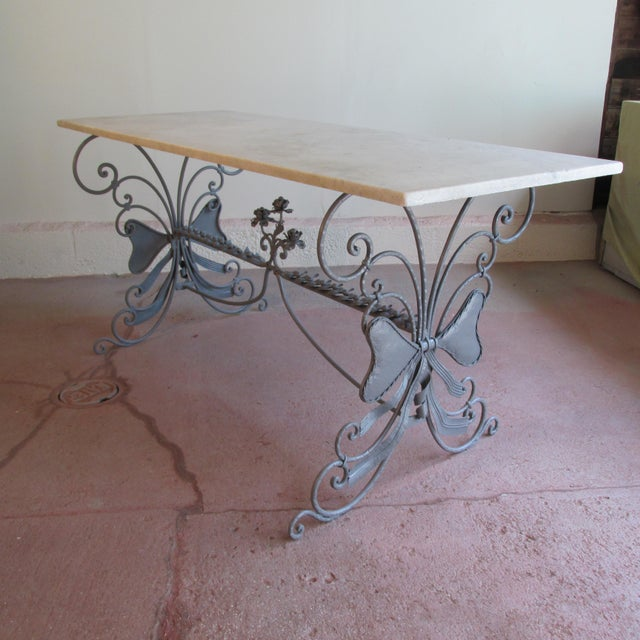 Antique French Garden Console Table With Marble Top For Sale - Image 13 of 13