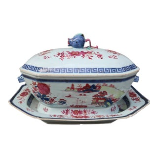 A porcelain tureen with tray, gustavian period, Sweden XIXth century