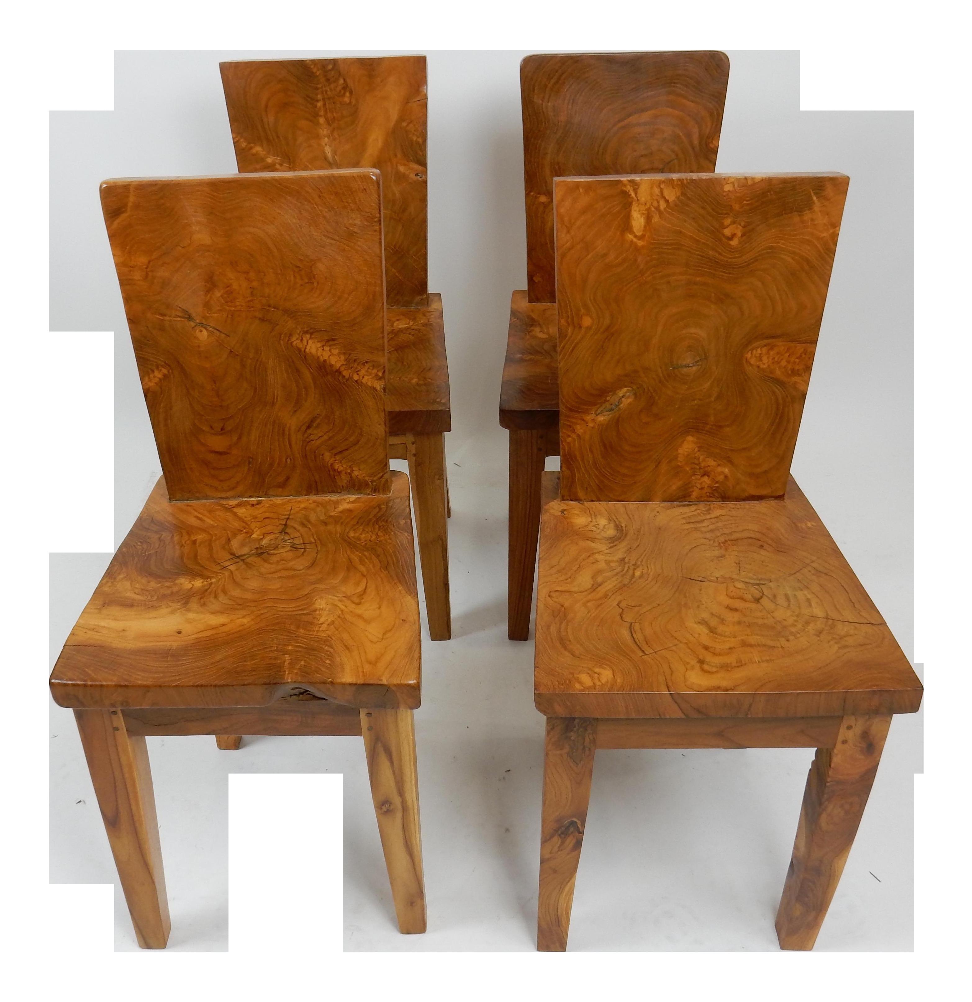 Mid Century Nakashima Style Acacia Burl Wood Plank Chairs   Set Of 4