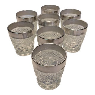 8 Vintage Pressed Glass Crystal Silver Banded Lo-ball Glasses For Sale