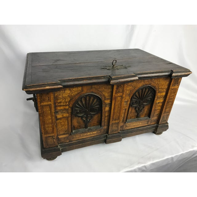 1800s Antique Gothic Style Figural Inlay Front Bible Storage Box For Sale - Image 13 of 13