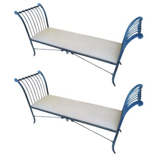 Pair of Stunning Neoclassical Iron Window Benches by Niermann Weeks For Sale