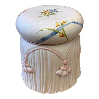 Vintage Italian Tassel Ceramic Garden Stool For Sale