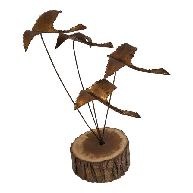 """Vintage Brutalist """"Geese in Flight"""" Metal Sculpture For Sale"""