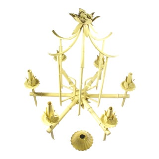 Pagoda Faux Bamboo Tole Chandelier For Sale