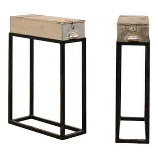 Vintage French Metal Bank Box End Tables - a Pair For Sale