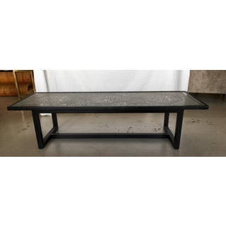 Contemporary Coffee Table With Etched Metal Inlay and Ebonized Wood Frame Preview