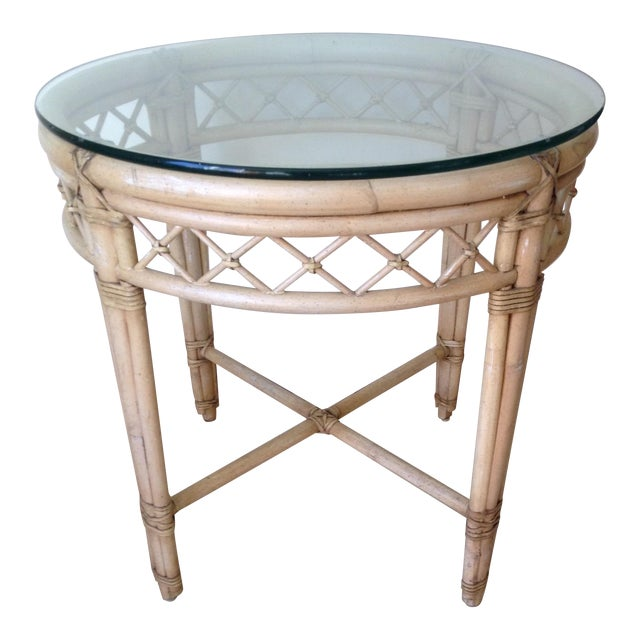 Ficks Reed Lattice Rattan Round Table - Image 1 of 5