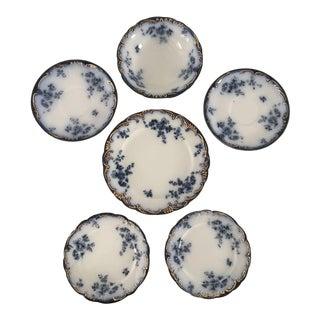 "Antique Flow Blue ""Ridgways Chiswick English Porcelain Dinnerware - 6 Pieces"