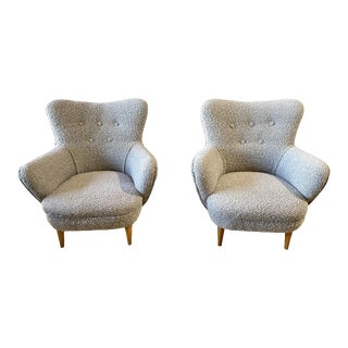 1970s Boucle Wingback Chairs - a Pair For Sale